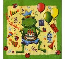Салфетка 33х33 см 3-х слойн,  С Днем рождения (лягушка)