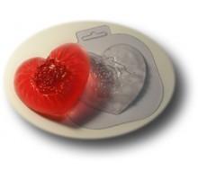 Шелковое сердце, пластиковая формочка для мыла
