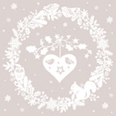 Салфетка 33х33 см  3-х слойн,  ATELIER, Счастливая зима (нежный)