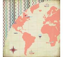 Бумага для скрапбукинга Basic Grey around the world , серия: Whats Up