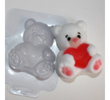 Мишка с сердцем, пластиковая формочка для мыла