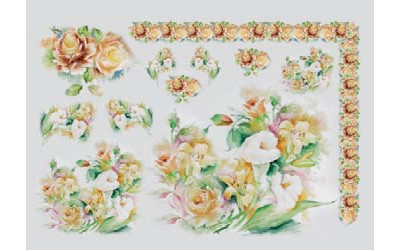 Бумага мягкая мини для декупажа, мотив Оранжевый цветочный микс, To-Do 25 x 35 см, пр-во Италия