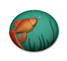 Золотая рыбка, пластиковая форма для мыла на платформе